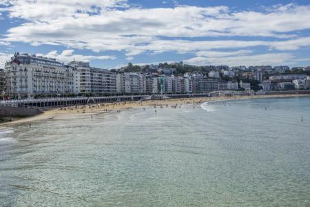 san sebastian: La Concha beach and San Sebastian Cityscape at Spain Editorial