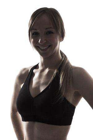 siluetas mujeres: un deporte mujer hermosa gimnasio de fitness silueta sonriente retrato sobre fondo blanco