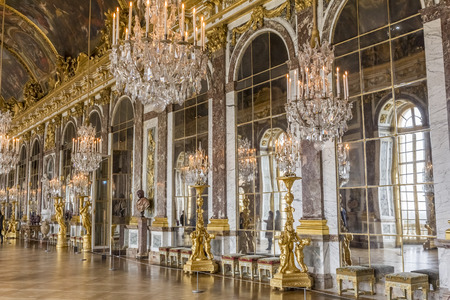 The Hall of Mirrors inside of the Palace of Versailles at France