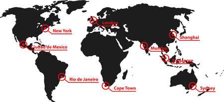 colera: un mapa del mundo con las ciudades y países Foto de archivo