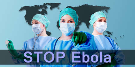 inoculation: stop ebola female medical docotr background is a world map