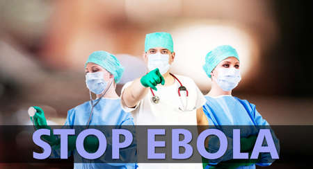 stop ebola medical background with male and female doctor photo