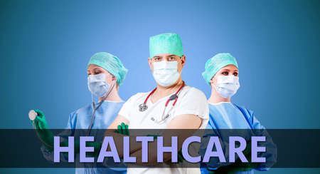 medical doctors: medical background with female and male doctors