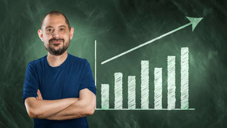 wallboard: Funny man in comic strip in front of wallboard with statistics Stock Photo
