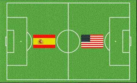 Football match Spain vs USA on lawn
