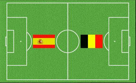 Football match Spain vs Belgium on lawn
