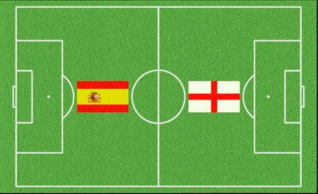 Football match Spain vs England on lawn