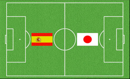 Football match Spain vs Japan on lawn