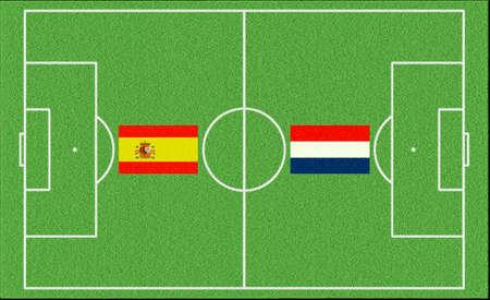 Football match Spain vs Netherlands on lawn