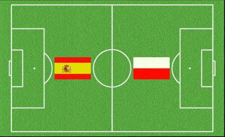 Football match Spain vs Poland on lawn