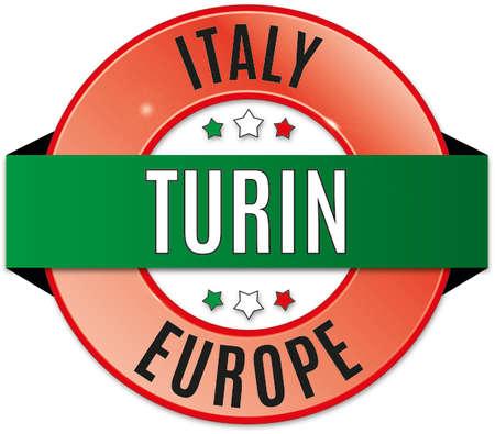 Round glossy badge of Turin