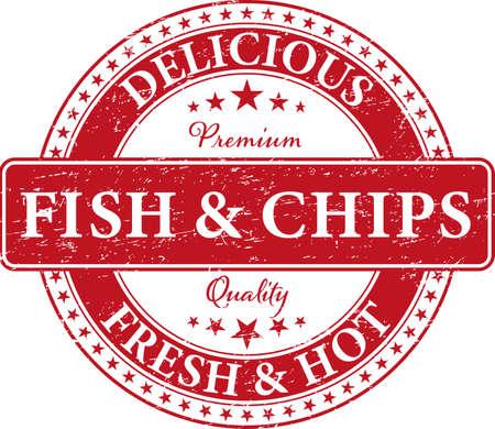 Icona di timbro di pesce e patatine