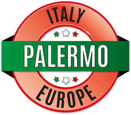 Round glossy Palermo badge Illustration