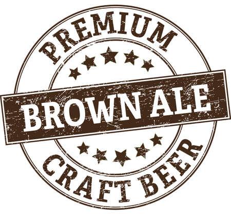 Brown ale retro rubber stamp icon