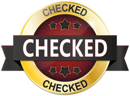 golden black and red metallic badge on white Stock Photo