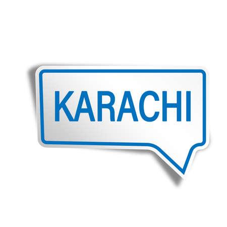 blue karachi paper speech bubble on white background