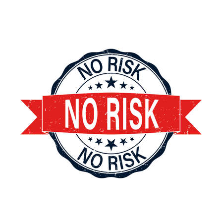 no risk round red grungy rubber stamp isolated on white