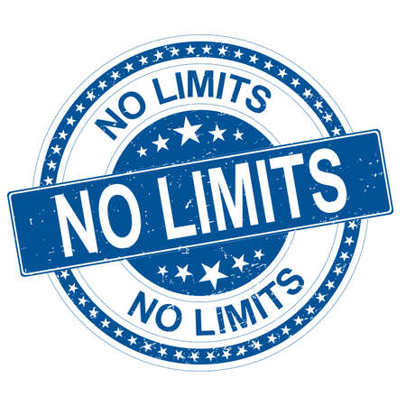 no limits blue round grungy rubber stamp with stars