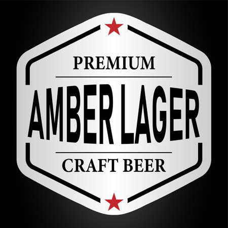 amber lager beer lable web badge icon