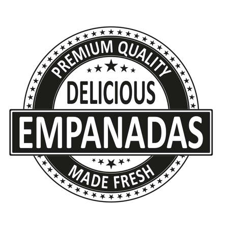 black premium quality delicious empanadas made fresh isolated square rubber stamp tag