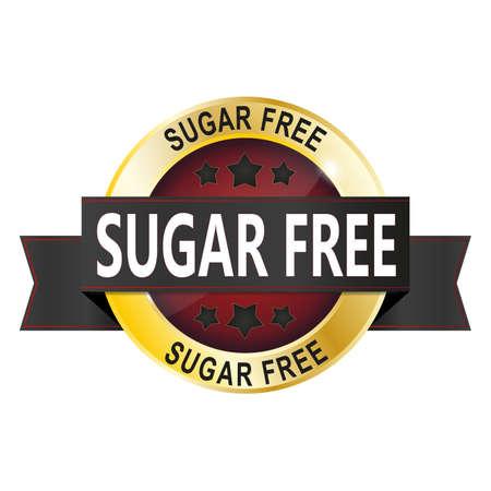 sugar free round glossy gold medal web seal