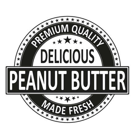 premium quality delicious made fresh badge stamp on white Ilustrace