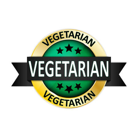 vegetarian round glossy gold green medal web seal