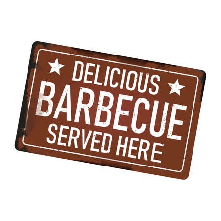 delicious barbecue served here dirty rusty metal icon plate sign