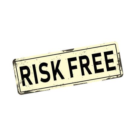 Antiques risk free vintage rusty metal sign, vector illustration Ilustração