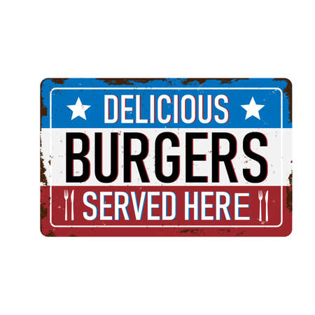 Vintage metal sign - Burgers - Vector EPS10. Grunge and rusty effects can be easily removed for a cleaner look. Banque d'images - 123241433