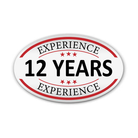 red vector banner label experience 10 years on white background