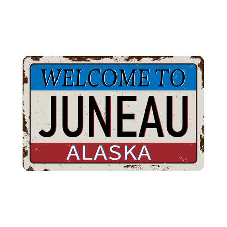 Luneau Alaska vintage rusty metal sign on a white background, vector illustration Ilustração