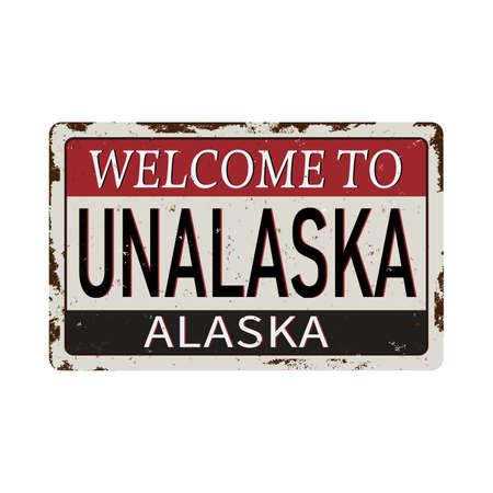 welcome to valdez alaska vintage rusty metal sign on a white background, vector illustration Stok Fotoğraf - 121788096