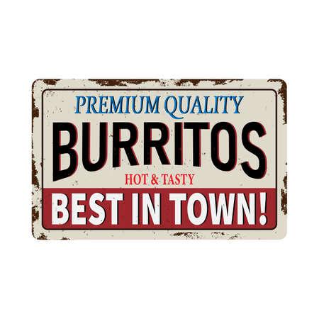 Burritos retro sign design for fast food restaurant. Vector vintage sign.