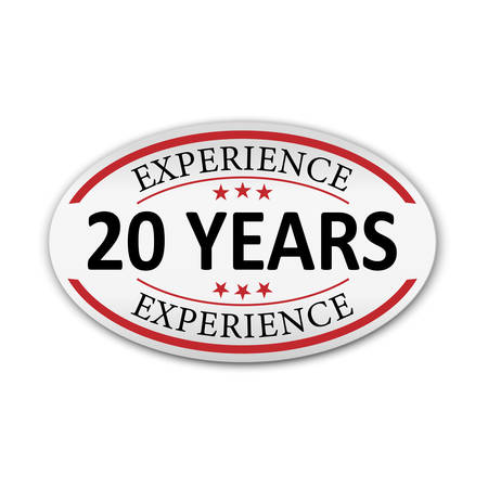 red vector banner label experience 20 years on white background