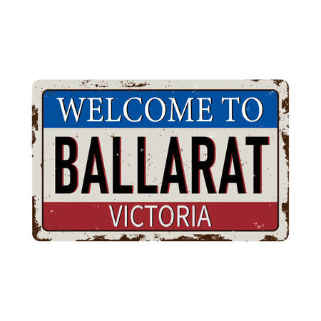 Vintage welcome to Victoria Australia tin rusty web sign on white background