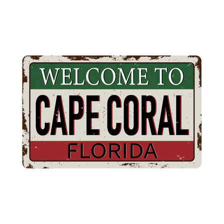 Welcome to cape coral florida, USA, United States of America colors, vintage, grunge texture for wallpapers, design concepts, badges, web, print. Vector illustration.