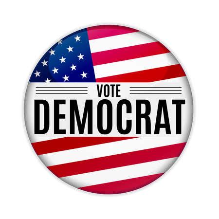 Épingle de bouton Web de démocrate de vote d'élection des États-Unis