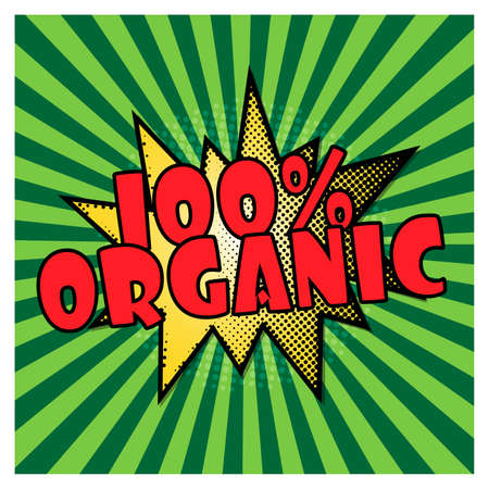 green pop art background. 100 guarantee. Comics pop-art style bang shape. Vector illustration Vektoros illusztráció
