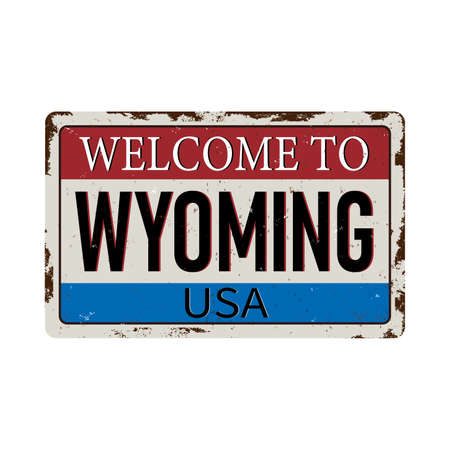 Welcome to Wyoming vintage grunge poster, vector illustration