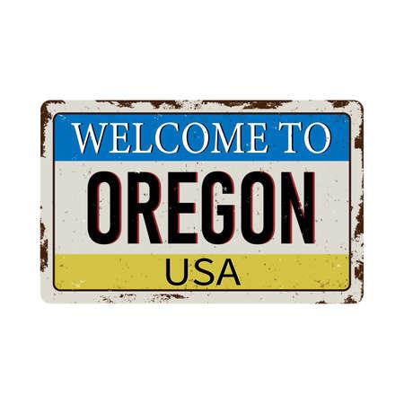 Oregon vintage rusty metal sign on a white background, vector illustration 일러스트