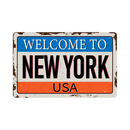Welcome to New York vintage rusty metal sign on a white background, vector illustration 스톡 콘텐츠 - 124930536