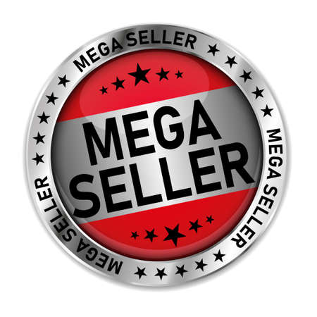 colored button with banner and text Mega Seller