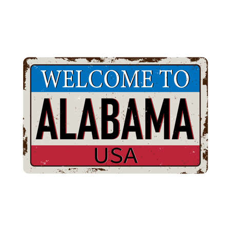 Welcome to Alabama vintage rusty metal sign on a white background, vector illustration 스톡 콘텐츠 - 124930609