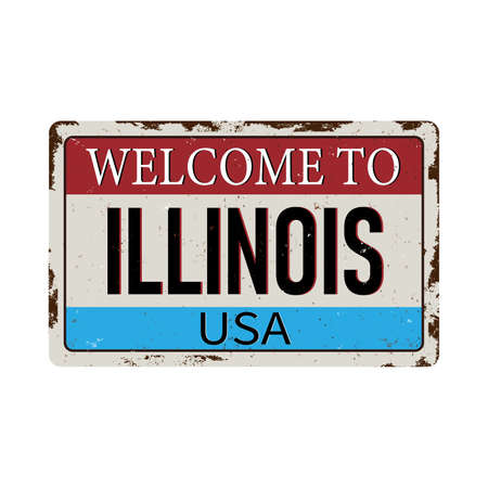 Illinois vintage rusty metal sign on a white background, vector illustration 스톡 콘텐츠 - 124931665