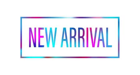 Neuankömmling-Konzept für Internet-Shops-Promo. Webbanner für Neuankömmlinge. Materialdesign trendige Farben.