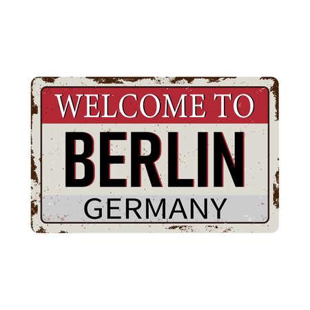 Vintage metalen bord - Welkom in Duitsland - Vector EPS-10 op witte achtergrond