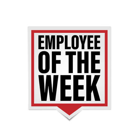 Employee of the week red web paper icon label on white background