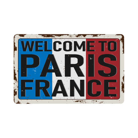 Vintage metal sign - welcome to France