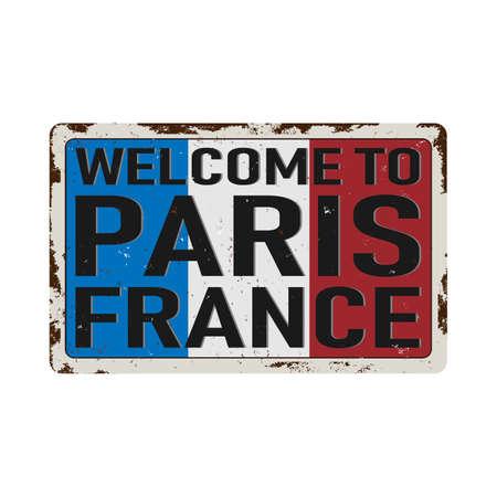 Vintage metal sign - welcome to France